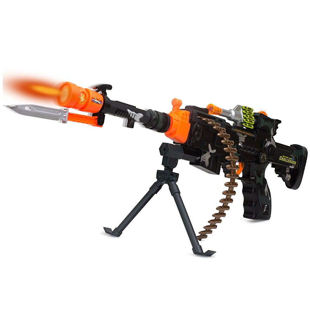 Military Machine Combat Toy Gun 22 Inch - Realistic Lights and Sound - Kids Action Look Real - Assorted Colors