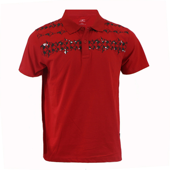 100% ringspun cotton pique 3 buttons polo shirt chilli red hebble tipped solid plain t shirt with abstract dart print