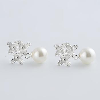 127be012d wish shopping online flower shaped sterling 925 silver AAAA freshwater pearl  drop earrings