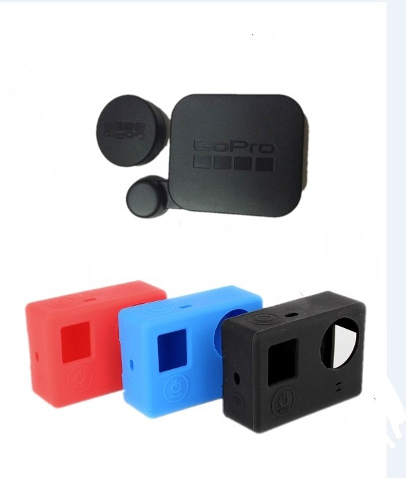 Silicon Gel Protective Case & Lens Cover for Gopro 4 3+ Protective Dirtproof Silicone Case Gopro accessories For GoPro hero4 3+