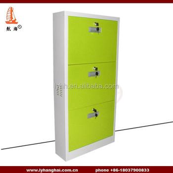 Durable Steel Shoe Rack Design Lockable 3 Tier Metal Shoe Cabinet With  Handle