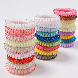 Fashion Candy colors clear plastic telephone wire hair tie