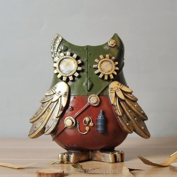 Polyresin Retro Industrial Style Home Decoration Creative Machinery Resin Wholesale Owl figurines