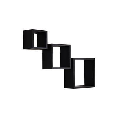 *Back-to-School Sale!* Adeco Decorative Home Decor Black Wood Square Floating Wall Hanging Shelf Shelves, Set of 3