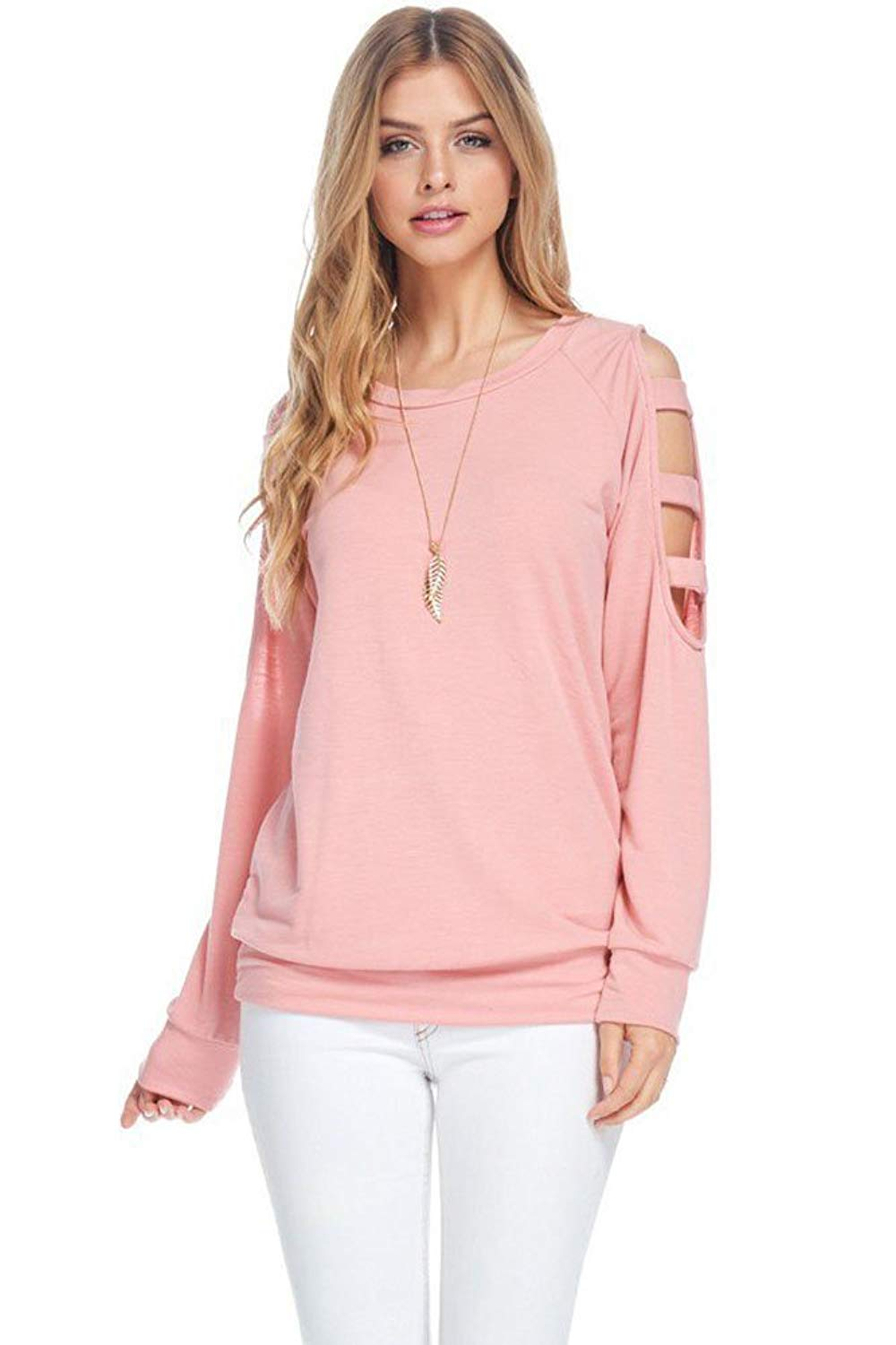 2eab7388169eae Get Quotations · Modern Kiwi Ally Cold Shoulder Long Sleeve Ladder Cutout  Sweater Top (S-XL)