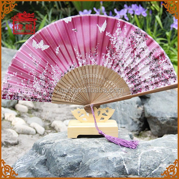 100% Real Silk Bamboo Hand Fans for wedding hand fans best hand held fans GYS802-1