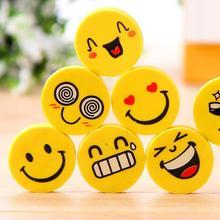 4 Pcs lot Smile Face Erasers Rubber For Pencil font b Kid b font Funny Cute
