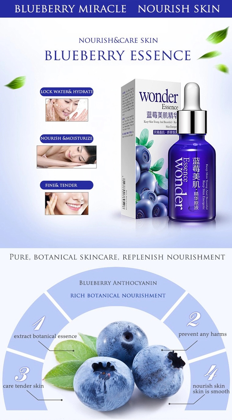 BIOAQUA private label anti-aging hyaluronic acid Blueberry essence moisturizing face serum