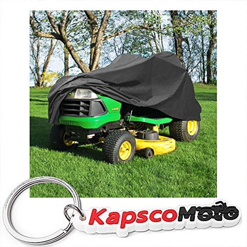 """North East Harbor Deluxe Riding Lawn Mower Tractor Cover Fits Decks up to 54"""" - Dark Grey - Water, Mildew, and UV Resistant Storage Cover + KapscoMoto Keychain"""