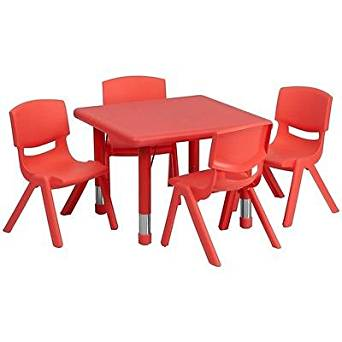 Get Quotations · 24u0027u0027 Square Adjustable Red Plastic Preschool Activity Table  Set W/4 Stack Chairs