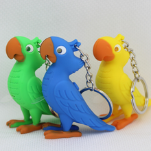 Custom Logo Funny Promotional Parrot LED Voice Key Chain Ring With Pendant Gifts