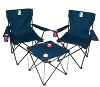 Double folding chair and table, fold up beach picnic garden camping chair set