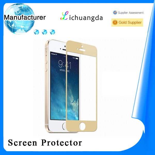 manufacturer Newest for iphone 5/5s tempered glass screen guard gold for Mobile phone accessory ( OEM / ODM )