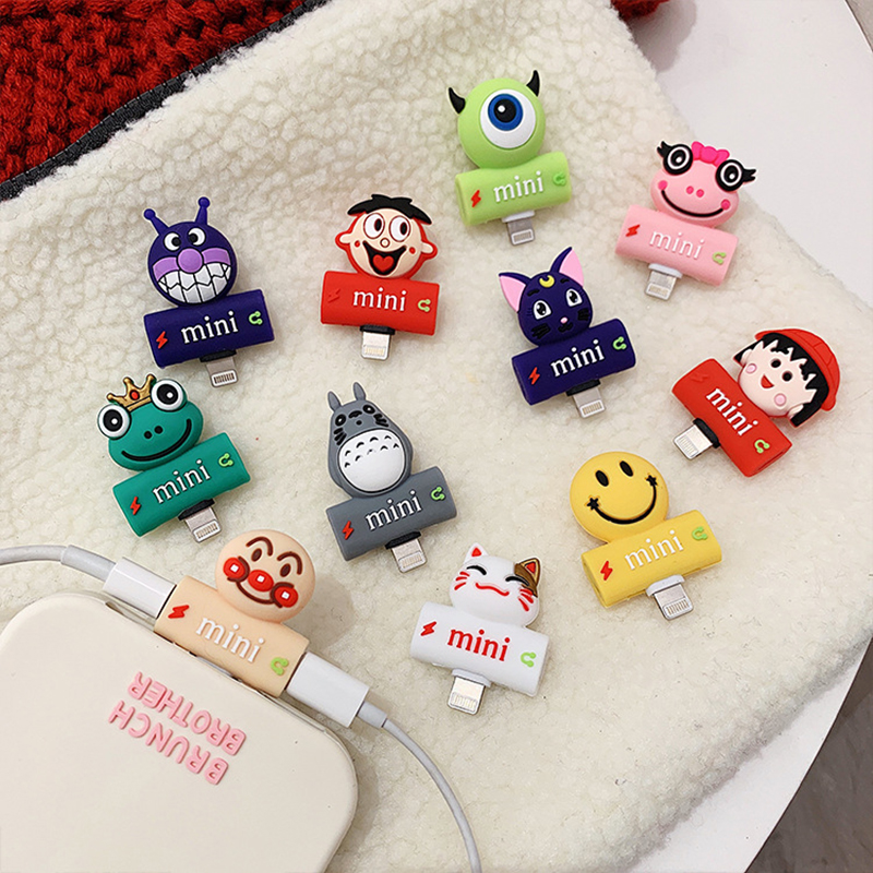 2019 Hot Sale 2 in 1 Silicone Headphone Cartoon Iphone Adapter for 7/8/X/XS/XR