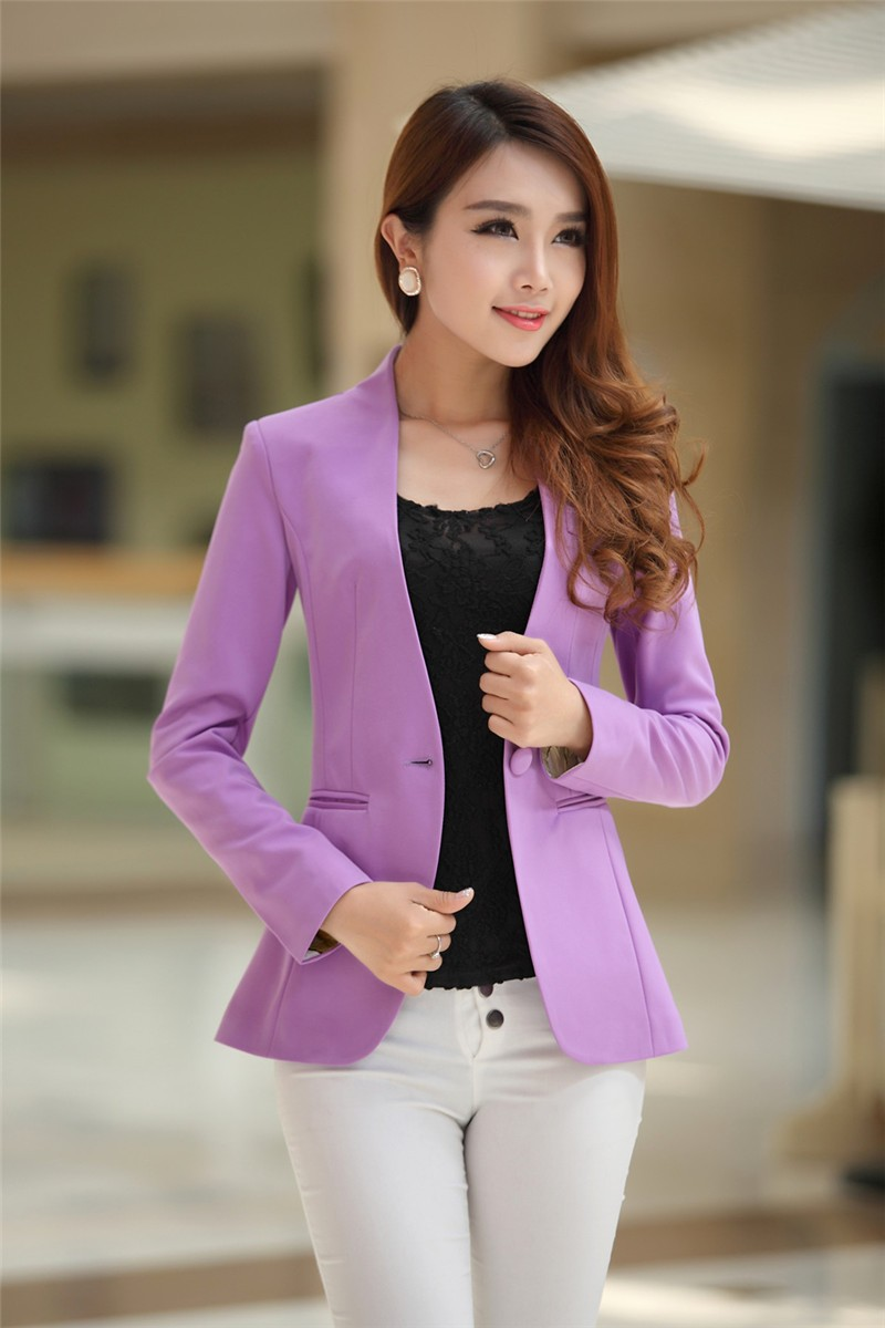 Autumn Women Blazers And Jackets Candy Color Jacket Long Sleeve Slim Suit One Button Women Jacket Plus Size S-2XL Blazer C1776