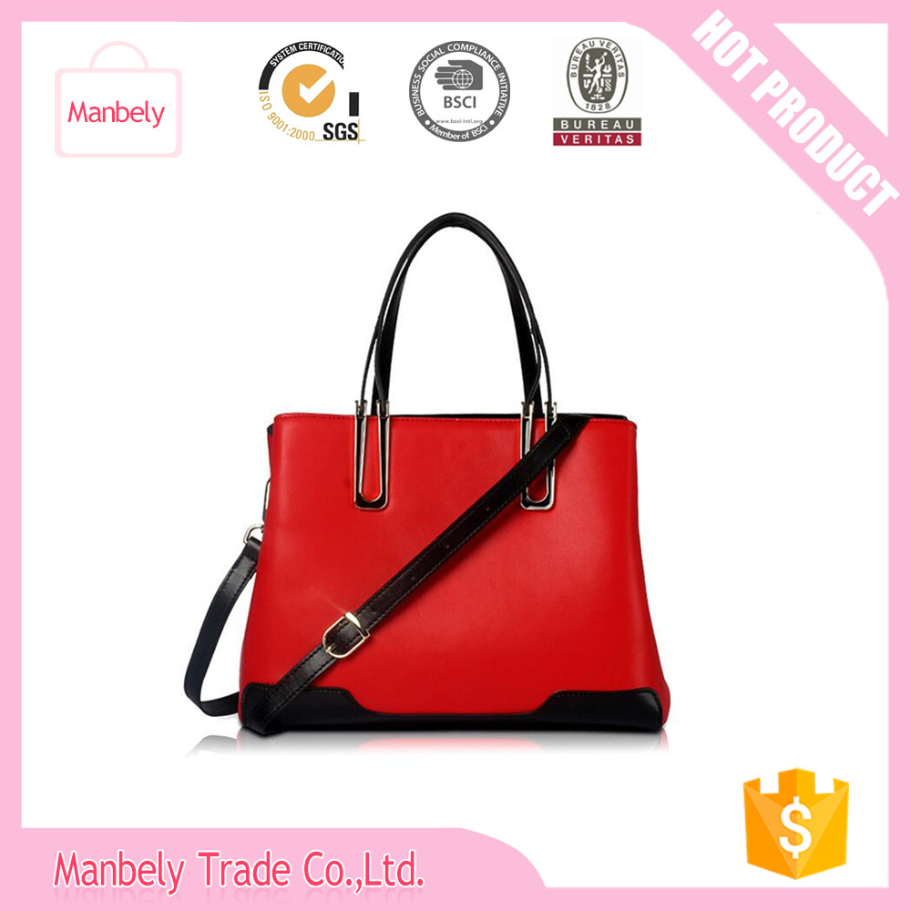 2016 new leather handbag Fashion lady hit the color shoulder bag Diagonal handbags