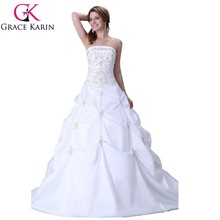 Grace Karin hotselling Ball Gown Mermaid Long floor length Strapless Backless White color wedding Dresses CL2522