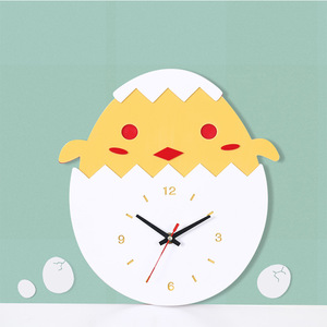 Preciser Lovely Chick In Egg Wooden Wall Clock MDF Simple Modern Wood Watch Silent Hanging Clock for Kids' Room