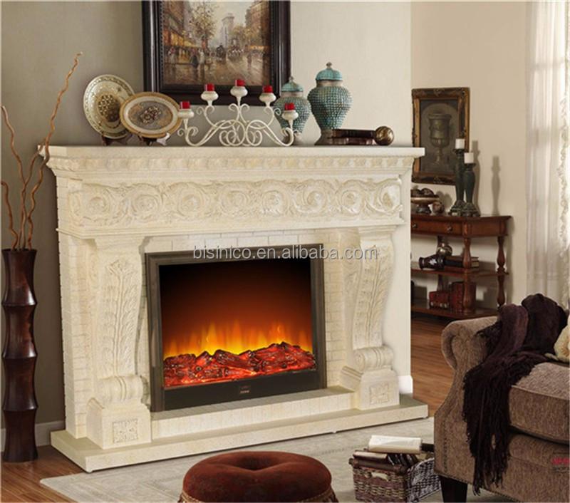Élégante Faux pierre cheminée en bois foyer électrique, Design ...