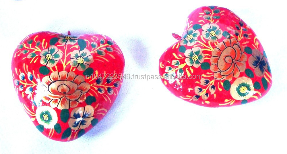 "Kashmir Paper Mache - Party/Festival/Special Occasion/Christmas Special - Decorative 3D Hanging Hearts (2"" in size approx.)"
