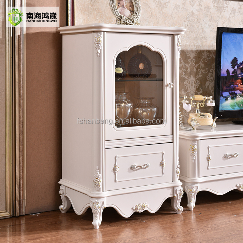 Classical European Style Ivory White Wooden Storage Display <strong>Cabinet</strong>