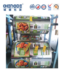 chicken ,snack frozen food aluminum foil roll film with window, automatic packaging film for food