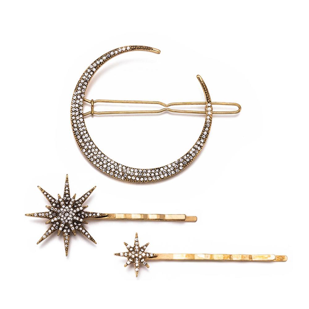 Alibaba.com / 3Pcs /Set Vintage Gold Metal Star Moon Rhinestones Hair Clip for Women Hairpins Hair Accessories