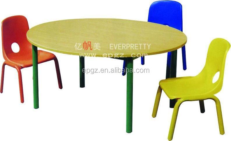 Madera de guardería para niños dibujo mesa redonda y sillas-Mesas ...