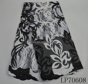 LP70608 Latest fashion embroidery lace fabric black and white tulle bridal fabic for wedding dress