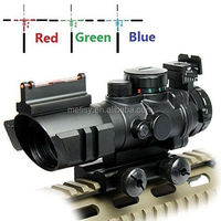 Prism 4x32 Red/Green/Blue Triple Illuminated Rapid Range Reticle Rifle Scope W/ Top Fiber Optic Sight and Weaver Slots