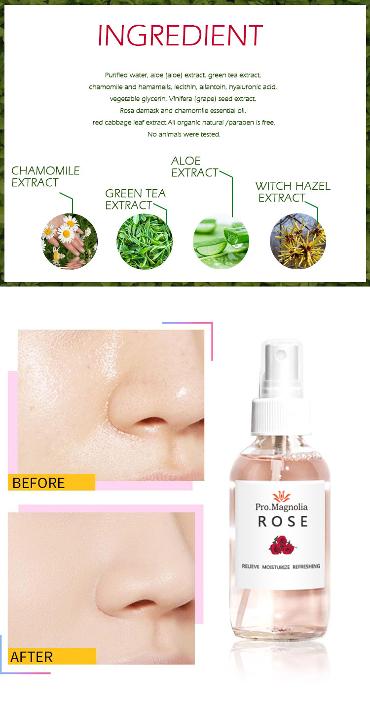 Private Label Facial Roos Water Toner Gezicht Mist Spray