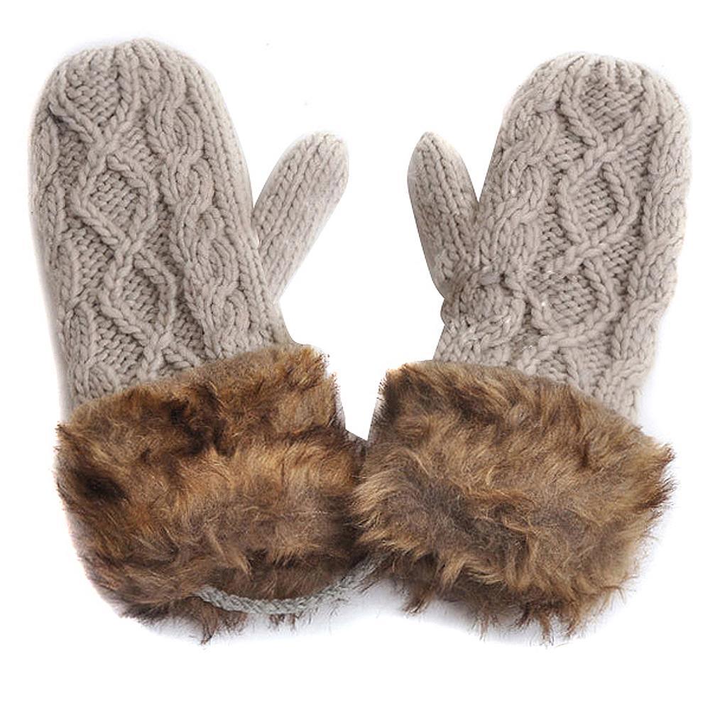 Ladies thermal leather gloves uk - Uk Warm Ladies Rag Wool Winter Snow Mittens Knitted Fleece Lined Fur Gloves