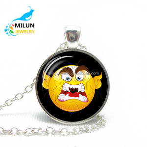 Hot European style women luminous time stone expression pendent Necklaces Christmas