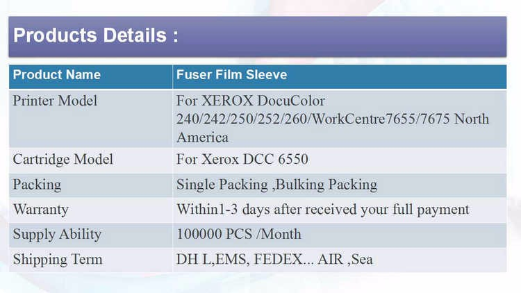 Docucolor fuser roller DC240/242 250/252/260/262 Phaser 7765 Color 550 560 Digital Press 700 700I OEM Quality Fuser Film Sleeve
