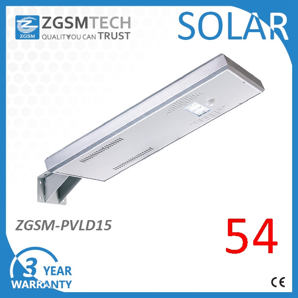 15W High Efficiency Solar LED Street Lighting with Integrated Solar Panel