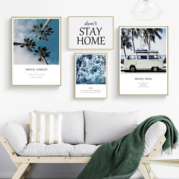 Coastal 5 pieces Canvas Wall Art Set with Giclee Print for Living Room Sofa Background Bedroom Hallway Home Interior Decoration