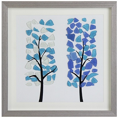 Display 3d shadow box frame with sea glass tree in it wall art- glass front and easy to hang