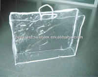 PVC plastic travel blanket zipper bag with white handles