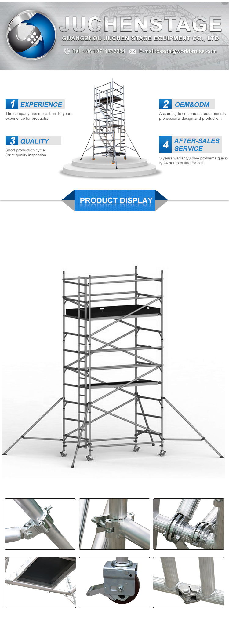 Factory Customized Scaffolding Size Mobile Scaffolding With Wheels Aluminum Building Scaffolding