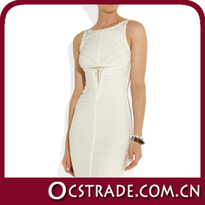 2014 lady's summer sleeveless beige cocktail dress cheap price