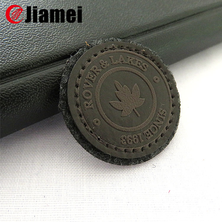 Jiamei Factory made garment label custom leather applique patch