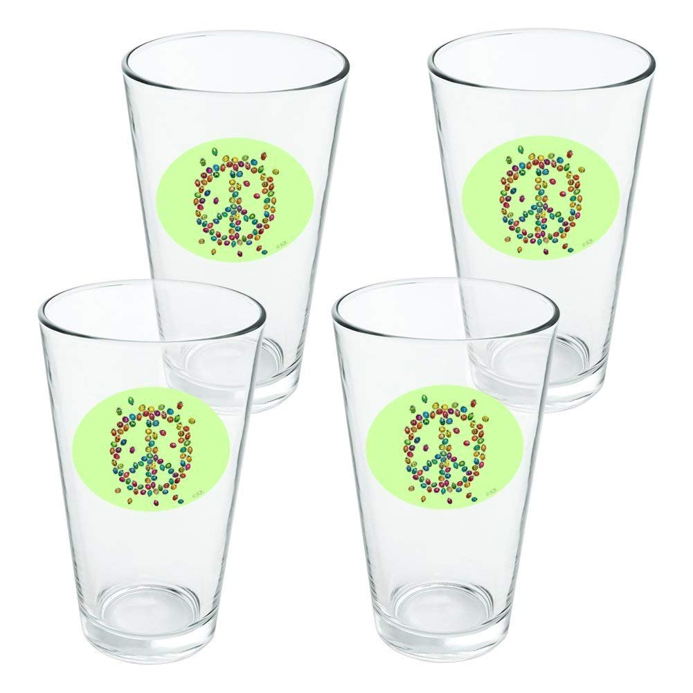 Lady Bug Rainbow Peace Sign Novelty 16oz Pint Drinking Glass Tempered - Set of 4