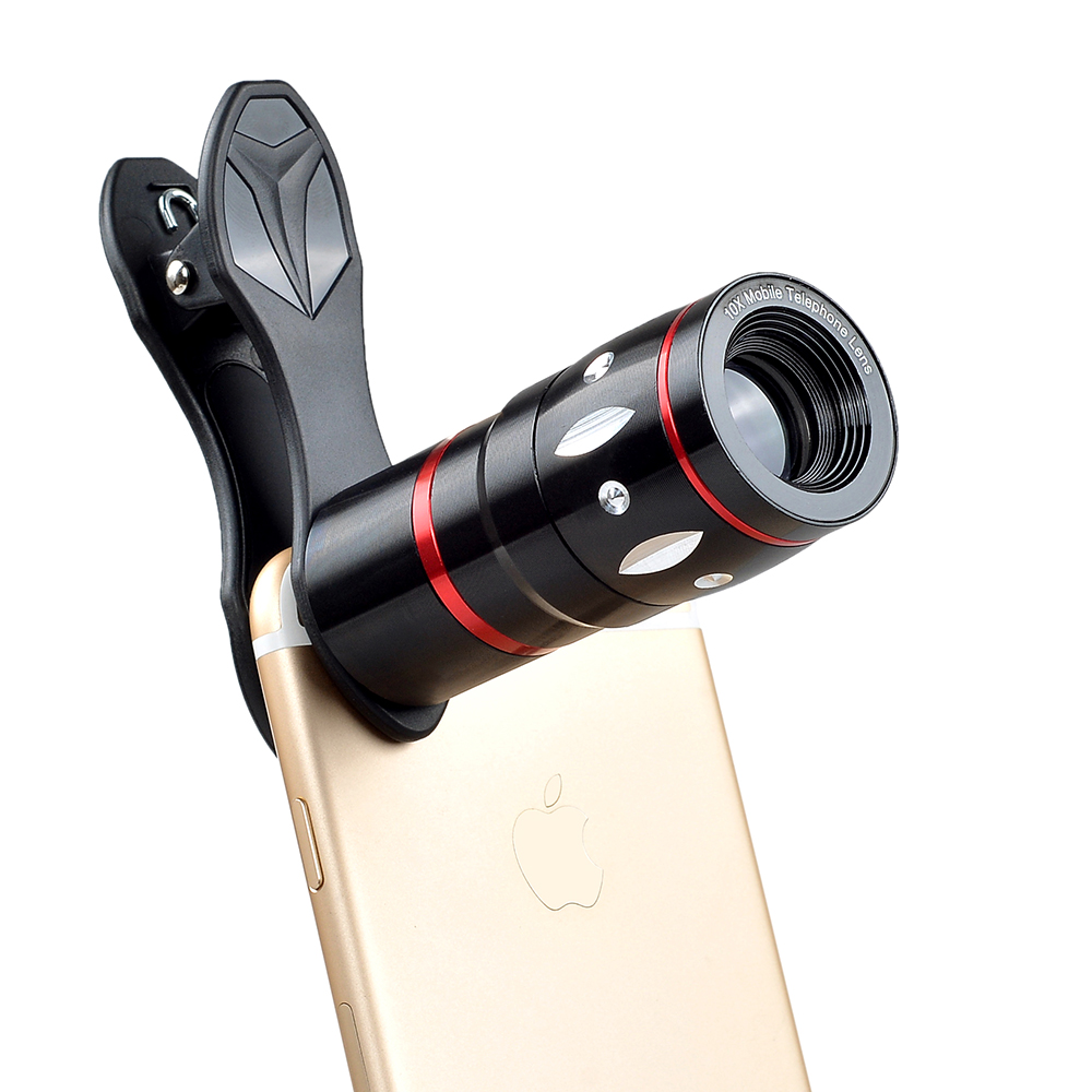 Apexel Awesome Universal  Metal 10x telescope 3 in 1 Mobile Phone Camera lens kit for Mobile Phones
