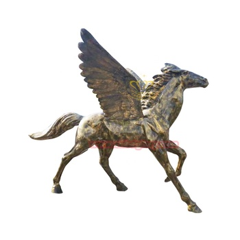 Garden ornaments fiberglass antique bronze flying horse statue
