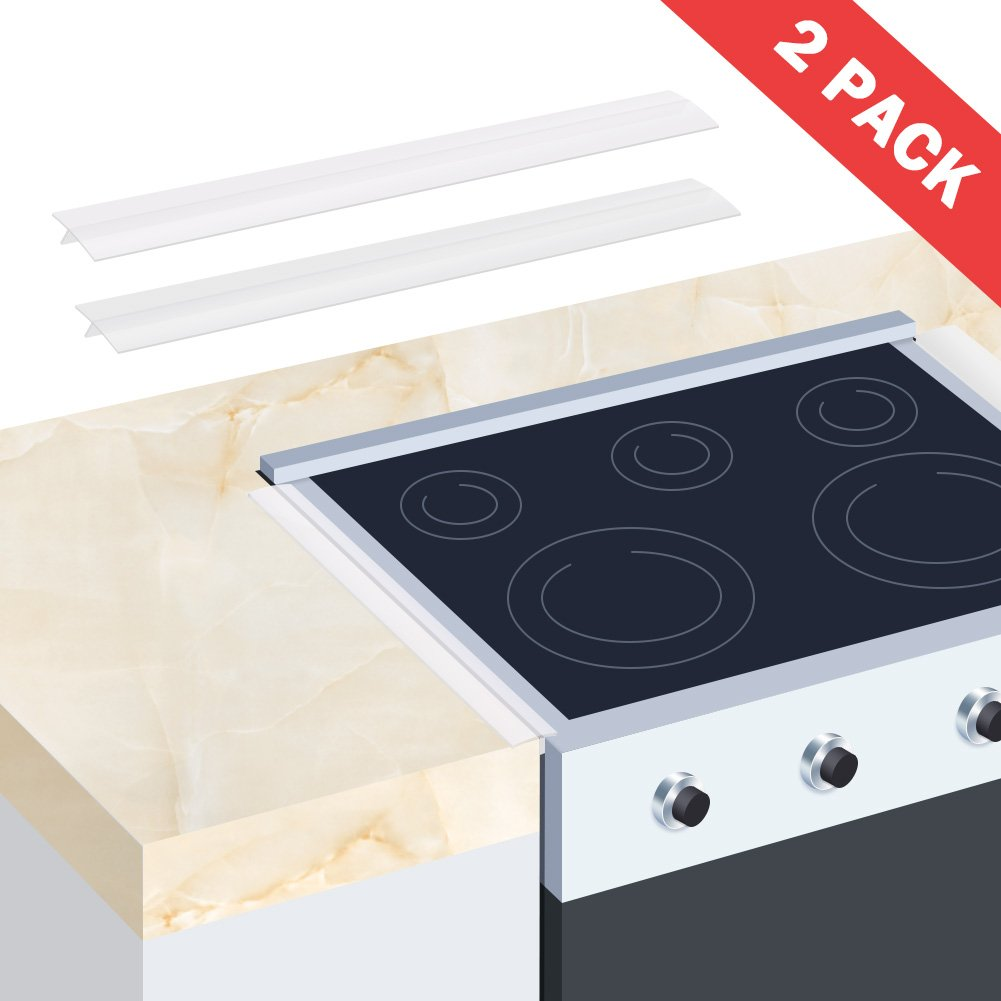 Wimaha 2 Pack Stove Gap Cover Counter Top Stove Fills Gap Between Countertop and Stove , Seals Spills Between Stovetops, Washing Machines, Tables, Clear Silicone