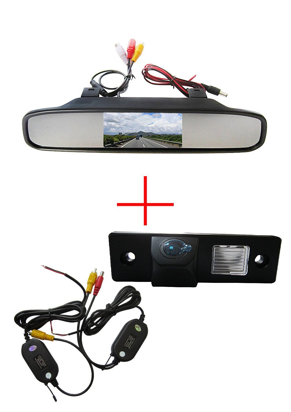 "Wireless CCD Color Car Auto Vehicle HD Back Up Rear View Reverse Parking Camera for CHEVROLET Epica Lova Aveo Captiva Cruze Matis Lacetti Spark BUICK GL8 EXCELLE HRV,with 4.3"" Screen Car Vehicle Rear view Mirror Monitor for DVD/VCR/Car Reverse Camera(DC 12V / PAL / NTSC / 2 Ways Video Inputs)"