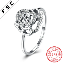 Wedding Party Anniversary 925 Sterling Silver Rose Shaped Zircon Jewellery Engagement Ring for Girls