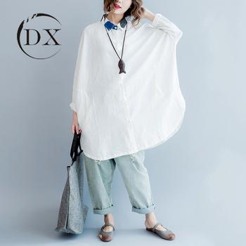 05a3076c765b2a Plus Size Shirts   Blouses Women Custom White Cotton Linen Shirt ...