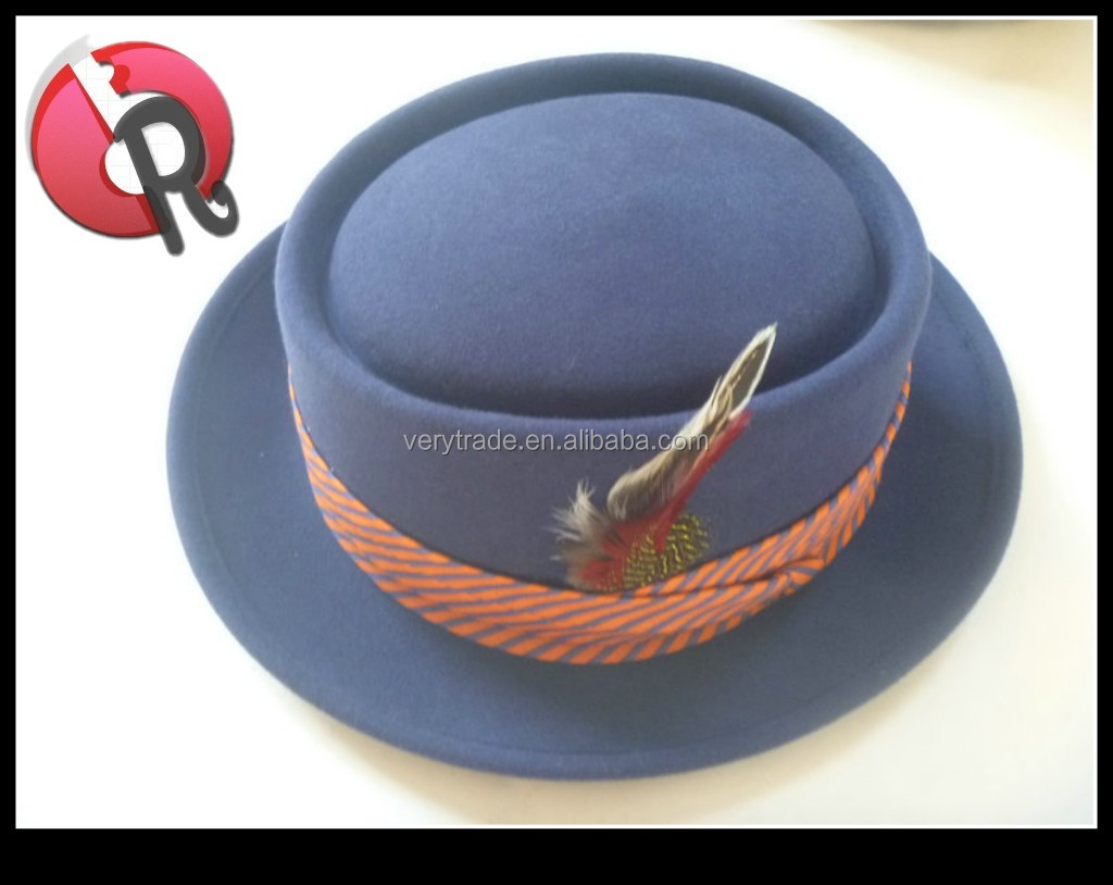 High quality 100% wool pork pie mens boater hat
