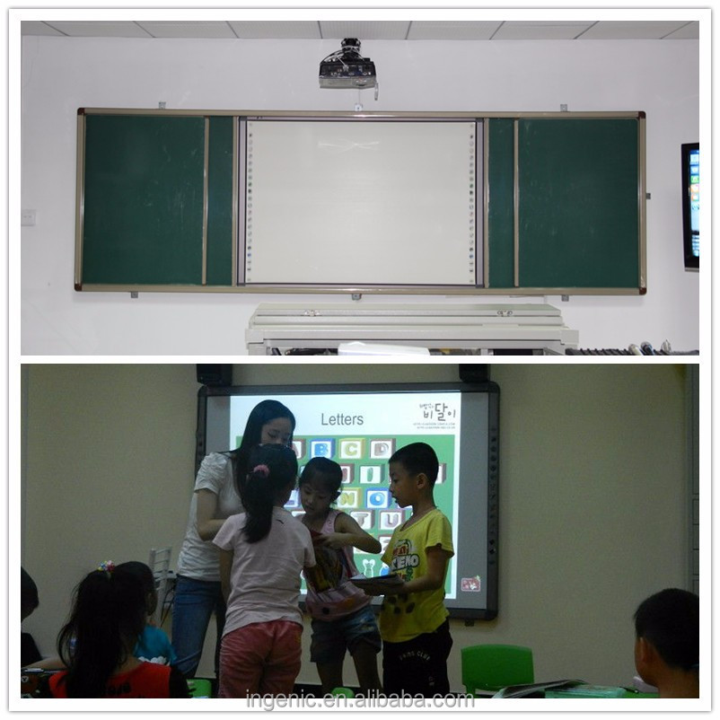 Made in China 82 inch sliding interactive white board with green board